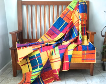 Modern Lap Quilt - Bright Geometric Patchwork - Large Sofa Throw - Dorm Quilt - Handmade - Wedding Gift - Picnic Quilt - Single Bed Topper
