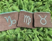 Handmade Zodiac zipper pocket pouch Wallet, earth elements, Taurus, Virgo, Capricorn, card pouch, change bag, mp3 player, iPod Na
