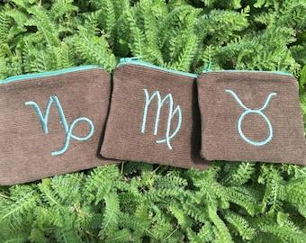 Handmade Zodiac zipper pocket pouch Wallet, earth elements, Taurus, Virgo, Capricorn, card pouch, change bag, mp3 player, iPod Na