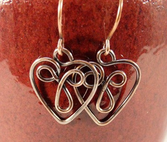 Celtic Heart Copper Wire Earrings.