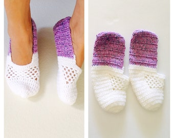 Purple & white Crochet House Shoes, Slippers, Size M, Hand Made in the U S A, Item No. Bde05