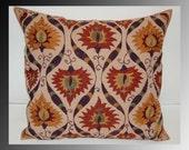 Beautiful  handmade super quality stitch mystical Bukhara flowers pattern Suzani Pillow Cover cushion  original silk  19.5 x 19.5 inch