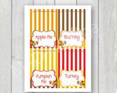 Thanksgiving printable, INSTANT DOWNLOAD, Thanksgiving Food Labels, Thanksgiving table tent cards, Thanksgiving Turkey printable class party