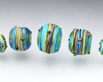 Set of focal beads Large glass beads Big glass beads lampwork glass focal bead Blue beads Green beads Glass focal Anne Londez SRA OOAK