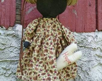 HOPE, Primitive Faceless Black Doll, Hand Embroidered Heart, Straw Hat,  Wall Hanger,  Shelf Sitter, Original Design, One of a Kind, Fall