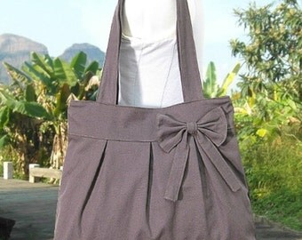 Summer Sale 10% off brown cotton fabric purse with bow / tote bag / shoulder bag / hand bag / diaper bag - zipper closure