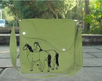 Summer Sale 10% off Grass green cotton canvas messenger bag with hourses printed, crossbody bag, canvas purse