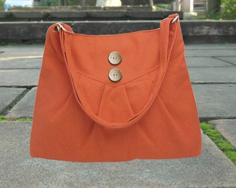 orange cross body bag / messenger bag / shoulder bag / diaper bag  - cotton canvas