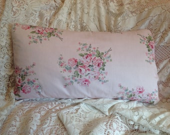 Shabby Chic lumbar pillow cover SWEET ROSE print poplin cotton fabric