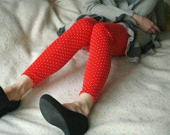 CLEARANCE SALE Red polka dot leggings