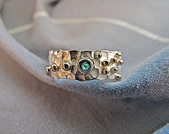 Sterling silver emerald ring with 14k yellow gold accents