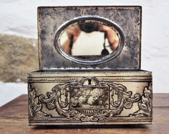 Oval Mirror French Tin box Embossed Pale gold