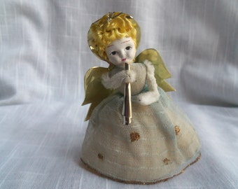 Vintage Blue Christmas Angel Ornament Chenille Foil Tulle Fabric Glitter Painted