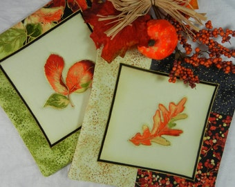 Quilted Serving Trivets (2) - Autumn Leaves  Set #4