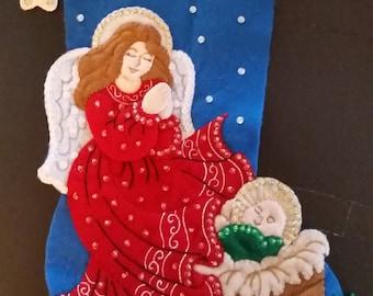 """Finished Felt Christmas Stocking """"Gardian Angel"""" 16 inch"""