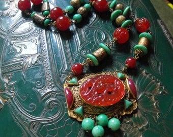 Pristine Czech deco necklace brass Carnelian and Peking glass carved beads necklace Neiger?