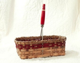Antique Potato Masher Basket w/ red wooden handle Handmade Country
