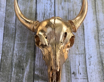Gorgeous gold cow skull