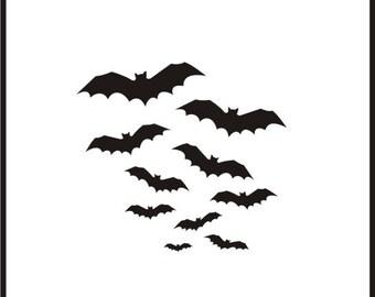 Roller Derby Helmet Decal Bat Spray Colony of Flying Bats Stickers