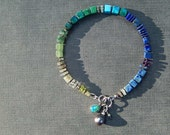 Blue Green Gemstone Bracelet with Gray Pearl and Opal Charm, Cube Gemstone Bracelet, Small Bracelet, Everyday, Boho, Autumn Jewelry