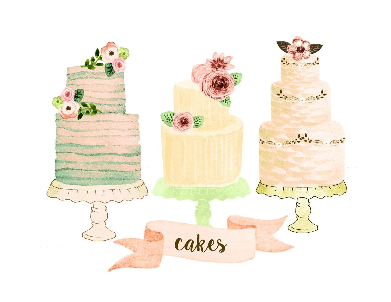 Rustic Watercolor Wedding Cake