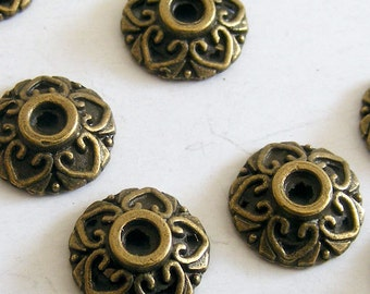Antique Brass Bead Caps 10x3mm  (24 pcs) MW-P0840