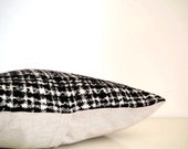Black and white pillow in luxury Italian wool, chunky weave, mid century modern pillow cover