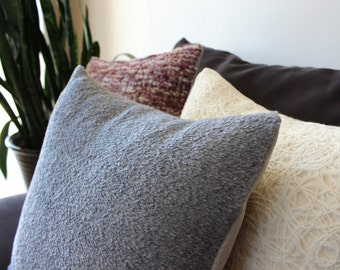 Gray pillow: furry smoke grey wool and alpaca mix, faux fur modern pillow cover with texture