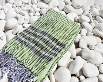 Turkishtowel-Soft-Hand woven,warp&weft cotton Bath,Beach Towel-net working draft weave pattern,weft colors-Apple Green and black stripes