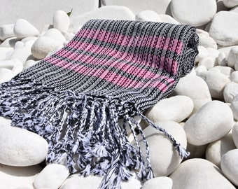Turkishtowel-Soft-Hand woven,warp&weft cotton Bath,Beach Towel-net working draft weave pattern,weft colors-Black and Red stripes