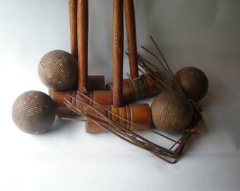 Wood Crocket Set Wood Balls and Mallots