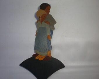 Vintage Hellerkunst German Wooden Wall Plaque Figure Wall Hanging