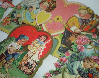 Collection of 4 Vintage 1930's - 40's Valentines Fabulous Die Cuts