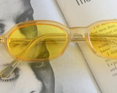 1980s YELLOW SPECTACLES Sunglasses..specs. NOS. librarian. groovy. twiggy. mod. retro glasses. prep. secretary. urban. hipster. ozzy. lennon