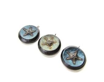 3 Ploymer Clay Starfish Pendants / Pearl ex pigment Pendant