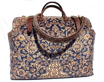 Carpet Bag, Weekender / Overnight / Carry on / Carpet Travel Bag. Blue Persian Medallion.