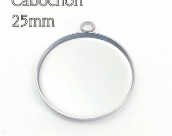 "25mm (1"") Cabochon, Bezel, Hypoallergenic stainless steel, bezel pendant tray, one loop"