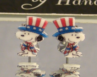 Snoopy Uncle Sam Stud Earrings - July 4th jewelry - surgical steel