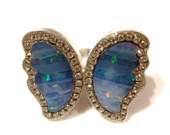 SUMMER SALE Butterfly Opal matched pair Sterling silver ring