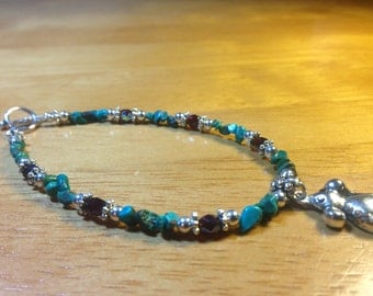 Rat Charm Bracelet Turquoise and Czech Crystal