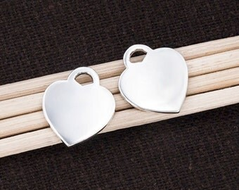 2 of 925 Sterling Silver Heart Charms 12x14mm. :tk0088