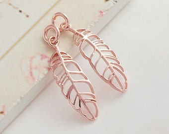2 of 925 Sterling Silver Rose Gold Vermeil Style Leaf Charms 7x22 mm. :pg0044