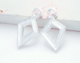 2 of 925 Sterling Silver Textured Diamond shaped Charms 8x11 mm. :tm0129