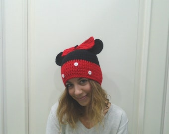 red and black Crochet minnie mouse hat, minnie mouse hat, girls minnie mouse hat, baby minnie mouse hat, minnie mouse photo prop