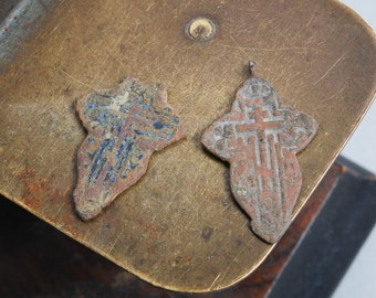 Set of 2 Antique parts of  Christian Cross pendant. Orthodox church