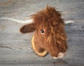 needle felted highlander bull  style faux taxidermy  by felt factory -READY TO SHIP