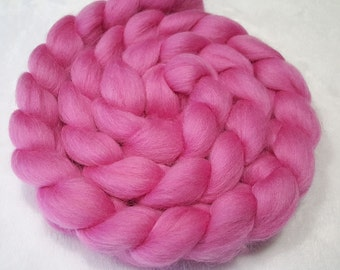 """Corriedale Combed Top/Roving - 4 oz - Camellia Pink - 27.5 Micron and 3.5"""" Staple Length"""
