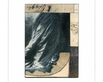 Hemline - original framed mixed media collage, fashion, romantic