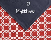 Baby Blanket - Red Square COTTON, Navy MINKY Smooth - Reagan - BB2