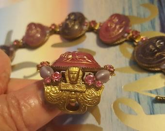 Vintage King Tut Egyptian Revival Scarab Bracelet and Ring